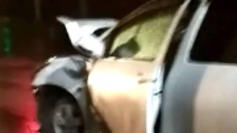 Ночью на ул.Гагарина столкнулись две «Тойоты». Видео