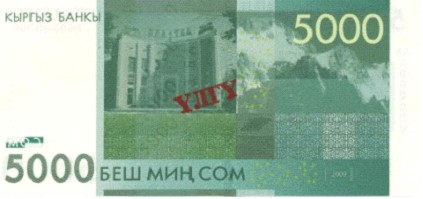 Валюта Кыргызстана - банкнота номиналом 5000 сомов образца 2009 года. АКИpress