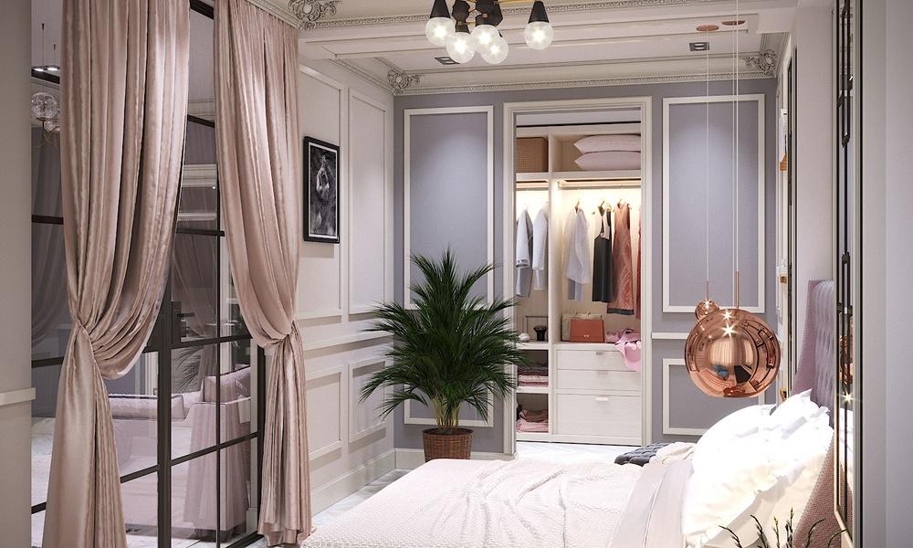 спальня с видом на гардероб квартиры 67кв.м.