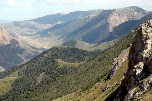 42 Вид с перевал, 32 серпантина в устье озера Сон-Куль, Каратал-Жапырыкский заповедник