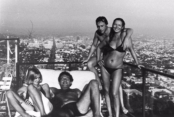 Джессика Лэнг, Милош Форман, Владимир Высоцкий, Марина Влади. США, Лос-Анджелес, 1976 год.