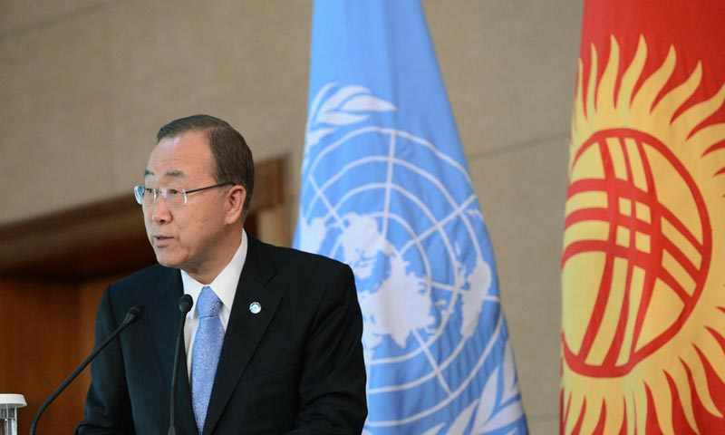 Генсек ООН Пан Ги Мун в Бишкеке в 2015 году