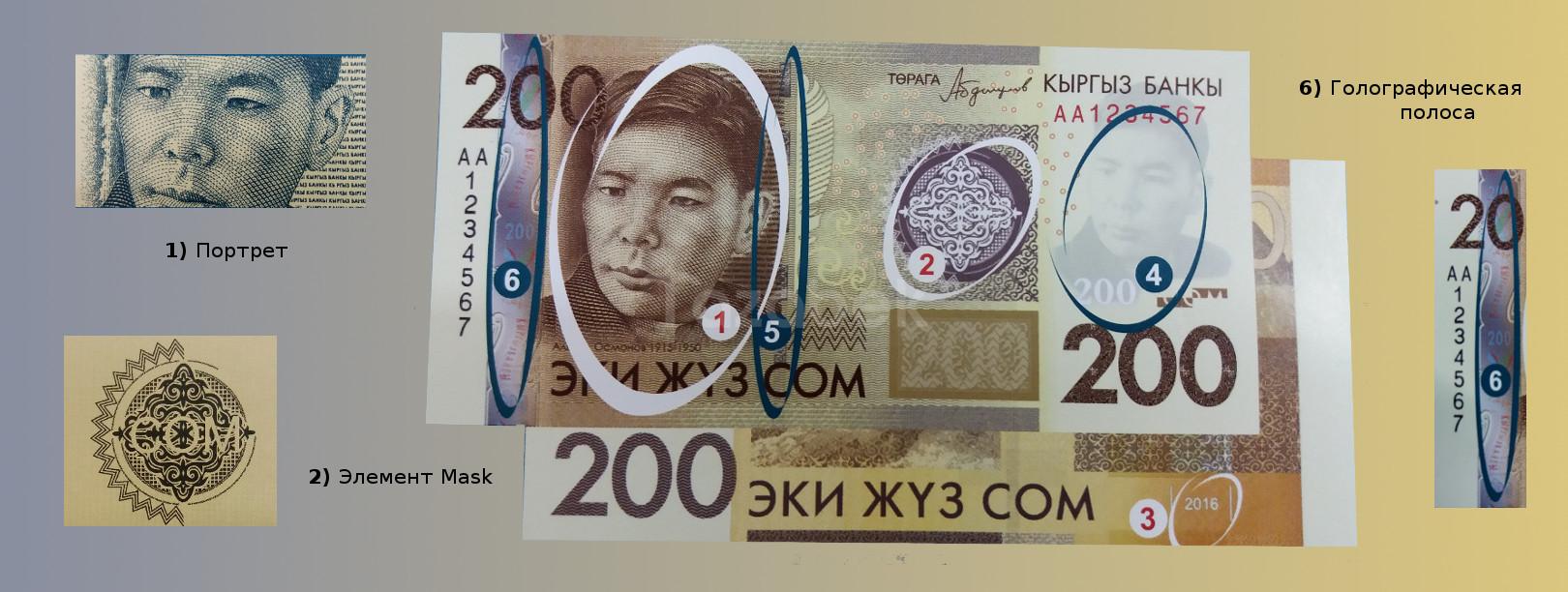 Валюта Кыргызстана - банкнота номиналом 200 сомов образца 2017 года. АКИpress
