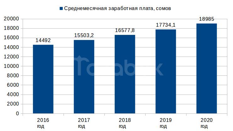 Среднемесячная зарплата в 2018 году составит 16,6 тыс. сомов, - Минфин