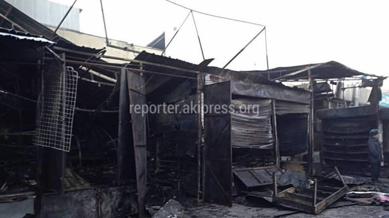 Видео — Последствия пожара на Ошском рынке