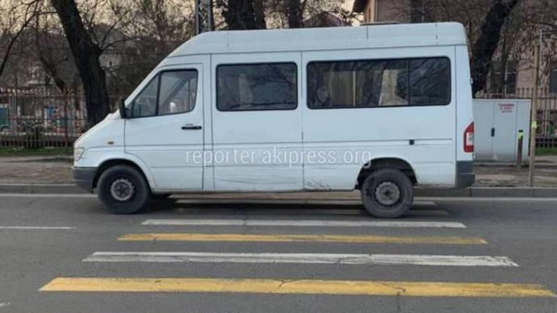 В Бишкеке водитель маршрутки №233 припарковался на пешеходном переходе и ушел (фото)