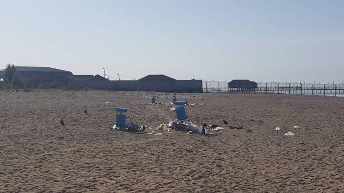 Фото — В Чолпон-Ате пляж рядом с пансионатом «Ала-Тоо» замусорен