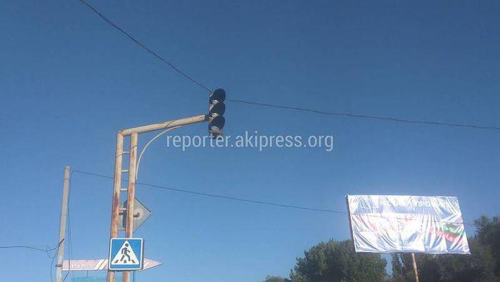 Неработающий светофор в селе Военно-Антоновка отремонтировали на 52 тыс. сомов, - Сокулукский акимиат
