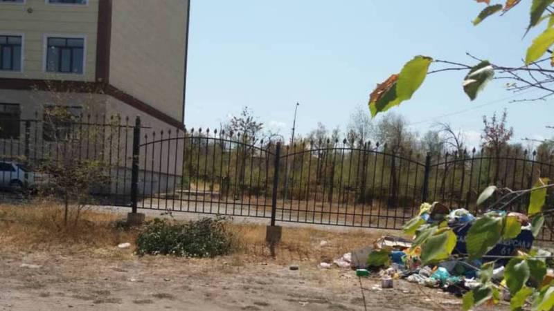 В Кара-Балте на улице Ленина из-за близко расположенных к жилому дому мусорных баков невозможно открыть окна, - житель (фото)