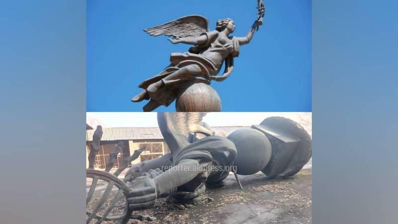 Фото – 7 лет на складе. Как выглядит монумент Эркиндик, демонтированный с площади Ала-Тоо?