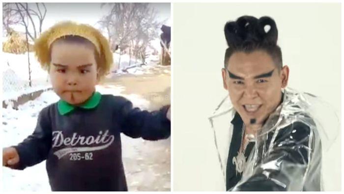 Маленький мальчик с «грозными бровями» пародирует певца Кайрата Кыргыза <i>(видео)</i>