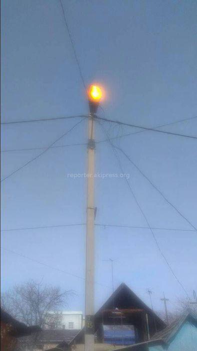 В Бишкеке на улице Хивинской днем горели фонари уличного освещения (фото)