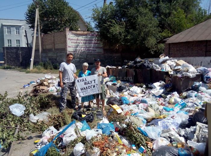 Жители домов на пресечении улиц Куренкеева и Логвиненко вышли с плакатами, требуя вывезти мусор <b><i>(фото)</i></b>