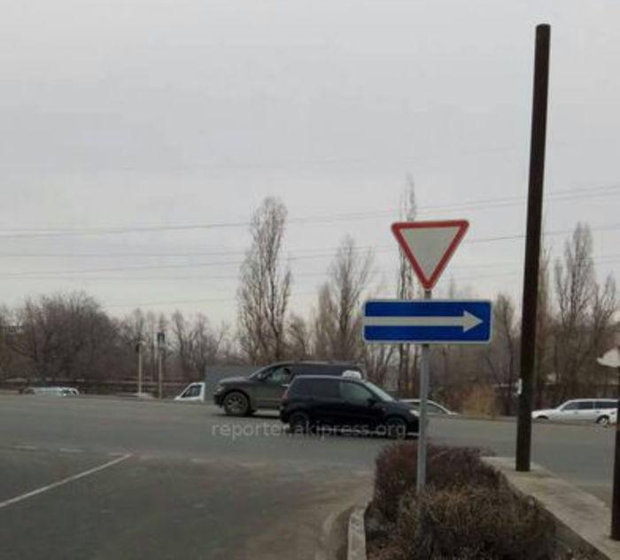 «Бишкекасфальтсервис» исправит неправильно установленный дорожный знак на проспекте Чуй