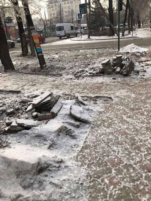 ОсОО «Визави» обязуется восстановить нарушенные элементы благоустройства на Жибек Жолу—Исанова при благоприятной погоде, - мэрия Бишкека