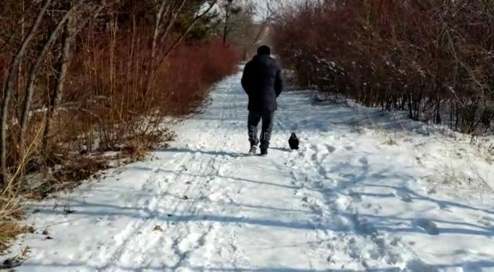 Житель Бишкека приручил ворону в Ботаническом саду <i>(видео)</i>