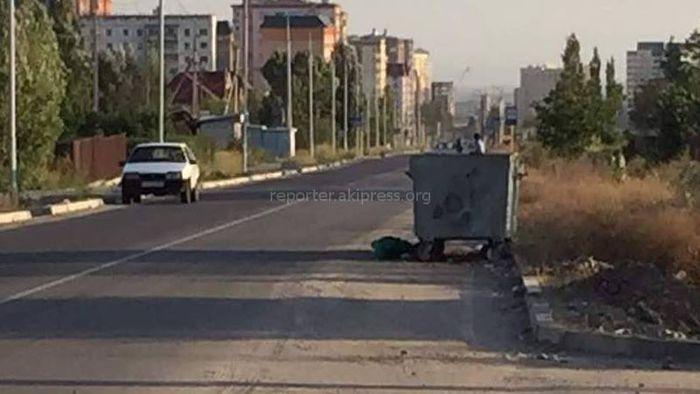 Бишкекчанин просит убрать мусорные баки с проезжей части ул.Иманкулова