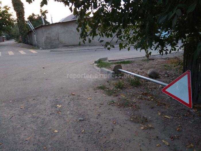 На Коммунарова-Минской упал дорожный знак (фото)