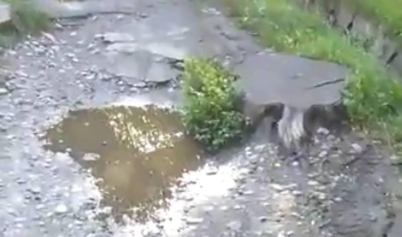 На ул. Московской тротуар находится в разбитом состоянии (видео)