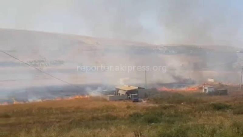 В Беш-Кунгее горит сухотравие (видео)