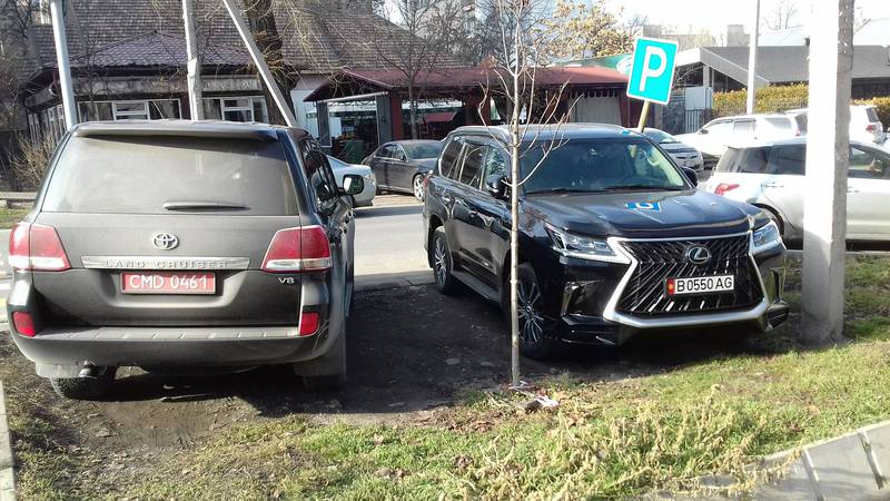 На Токтогула-Орозбекова «Тойоту» c дипномерами и «Лексус» припарковали на газоне. За «Лексусом» числятся штрафы (фото)
