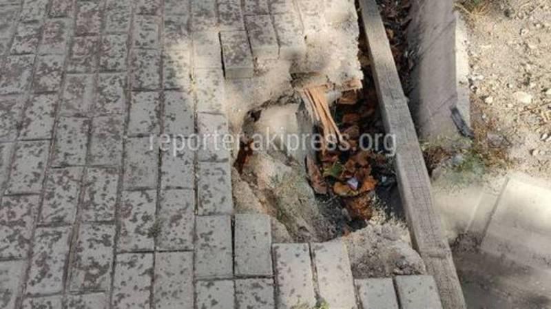 Провалившейся тротуар на Токтогула будет восстановлен в ближайшее время
