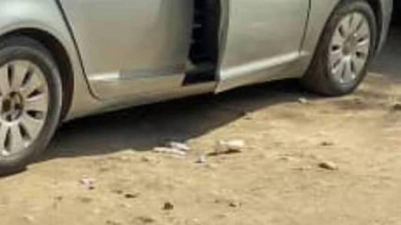 Возле детского сада №47 две девушки на автомобиле «Ауди» выбросили мусор на дорогу (фото)