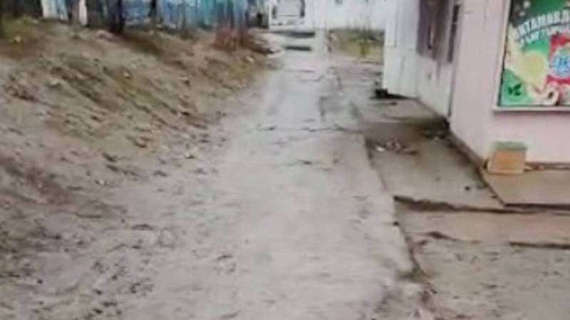 На тротуаре возле детского сада №181 грязь и слякоть. Видео