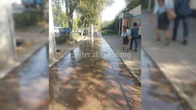 Байтик Баатыр көчөсүндөгү тротуарды суу каптап кетти