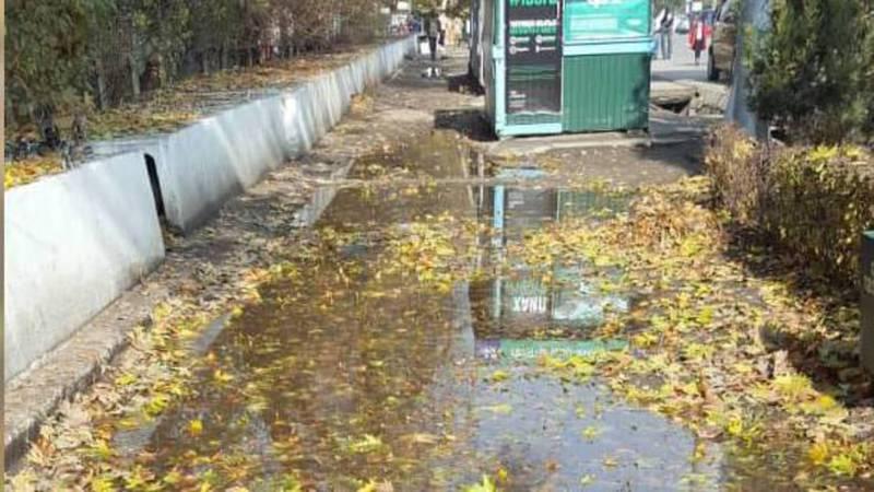 В Оше затопило тротуар вдоль проспекта Масалиева