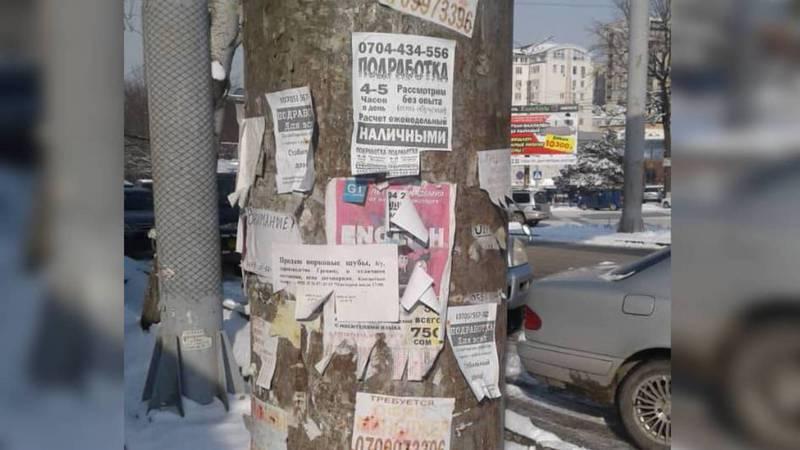 Штрафуют ли за расклейку объявлений в неположенном месте? - бишкекчанин (фото)