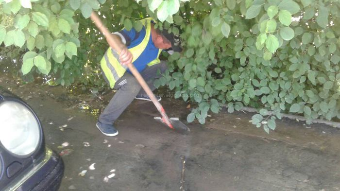 «Бишкекзеленхоз» проводит очистку ирригационных сетей на ул.Карасаева (фото)