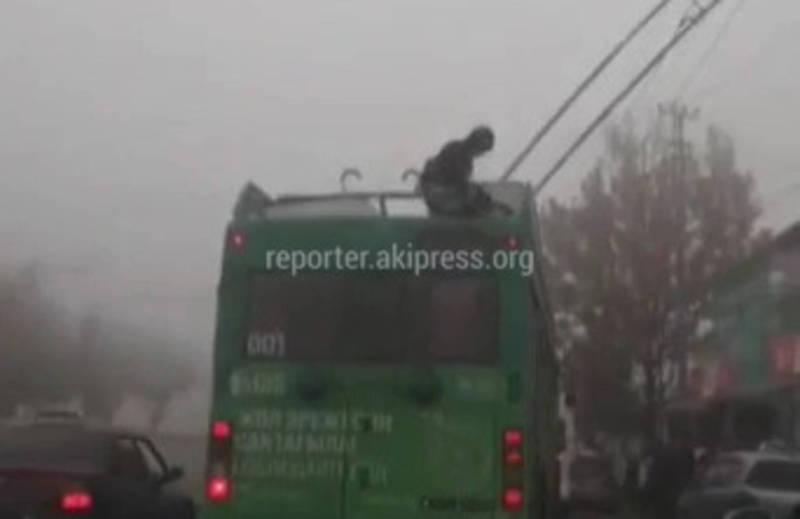 Видео — Парень решил проехать зайцем и залез на крышу троллейбуса