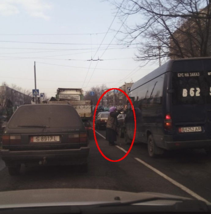 Женщина препятствовала водителям на Чуй-Шабдан Баатыра <i>(фото)</i>