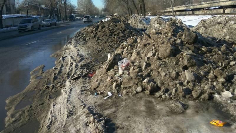 Горожанин просит убрать снег на Манаса-Л.Толстого (фото)