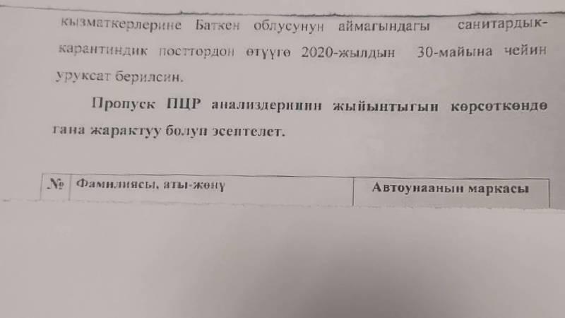 Почему при въезде в Баткенскую область требуют результаты теста на коронавирус?