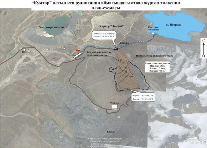 Схема участка месторождения «Кумтор», где сошел оползень с отвала.